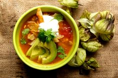 Tomatillo Soup with Avacado and Lime - Uses Tomatillos, Yellow Onion, Tomatoes, Garlic, Corn, Cilantro, Jalapeno, Avacado, Limes, Vegetable or Chicken Stock, Sour Cream, Corn Tortillas, Salt, Pepper;