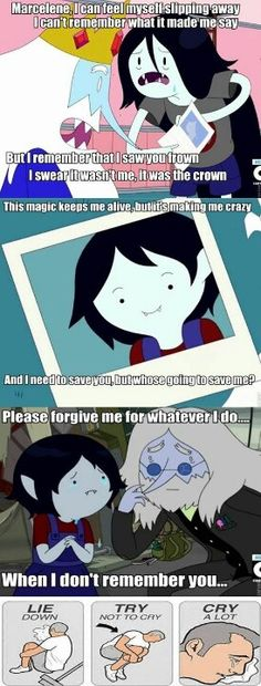 I cried so much in this episode haha what is life? The best episode of Adventure time ever <--- At first I was like WHAT? But then I just HFYRFWQFWLEFGLGUEGUHBER//// Everyone who likes Adventure Time, myself included, is slowly going insane. Marceline, Land Of Ooo, Finn The Human, Vampire Queen, Bravest Warriors, Jake The Dogs, What Time Is, Bubbline, Cartoon Network