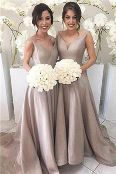 Simple V-neck Cheap Bridesmaid Gowns,Handmade Dresses,Elegant Long Bridesmaid