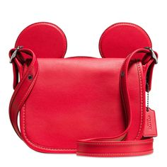 Mickey Mouse Ears Patricia Saddle Leather Bag by COACH - Red