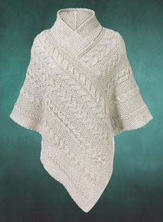Shawl-Collared Poncho, made in Ireland of 100 merino wool Knitted Cape, Knitted Shawls, Holiday Fashion, Holiday Style, Knit Or Crochet, Crochet Clothes, Dress Patterns, Knitwear, Merino Wool