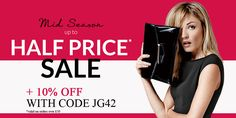 Half Price SALE + 10% OFF with promotional code JG42. Shop before March 20 at Debenhams UK.
