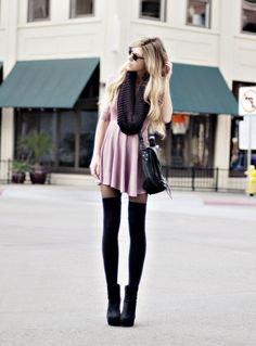 Over the knee socks, booties, and a Girly dress.