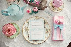 french blue, vintage teal, pink and gold... exactly what i would want.