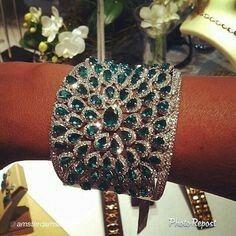Emerald and diamond cuff