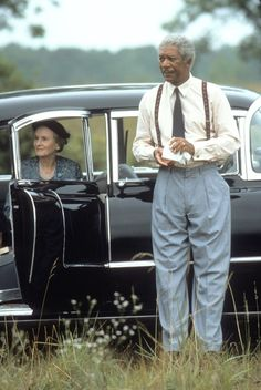 """Jessica Tandy sits in her 1956 Cadillac while she & Morgan Freeman reminisce in, """"Driving Miss Daisy"""" (1989)"""
