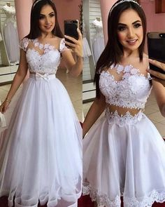 White Cap Sleeve Tulle Appliques Prom Dress, Two Piece Prom Dresses Cheap Bridal Dresses, A Line Prom Dresses, Tulle Prom Dress, White Wedding Dresses, Quinceanera Dresses, Cute Dresses, Lace Dress, Evening Dresses, Tulle Lace