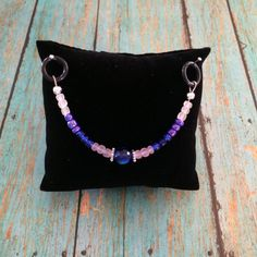Beaded Stethoscope Charm  Blue Purple and White by DungleBees, $13.99