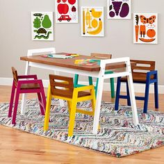 adorable table and chairs! too bad that price isn't for the whole set. :) Two-Tone Teak Play Chair (Green)