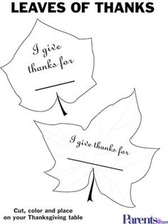 leaf template to use for giving thanks writing activity to hang
