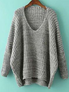 Shop Grey V Neck Batwing Sleeve Dip Hem Oversized Sweater online. SheIn offers Grey V Neck Batwing Sleeve Dip Hem Oversized Sweater & more to fit your fashionable needs.