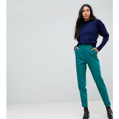 ASOS TALL Tailored Slim Trouser with Split Cuff ($49) ❤ liked on Polyvore featuring pants, green, zip pants, green zipper pants, slim fit pants, tailored pants and slim fitted pants