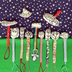 """Porta ciucci artigianali """"Tra le nuvole"""" creazioni per bambini #pacifierclip"""