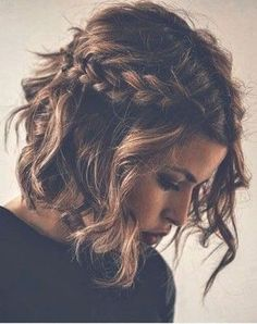 Brown + Wavy + Updo Side braid