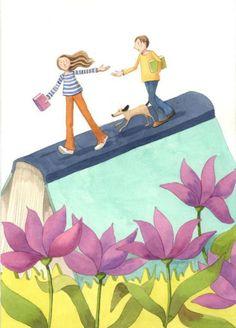 Caminamos juntos, compartimos lecturas (ilustración de Mónica Carretero)
