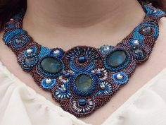 Bead Embroidery Collar Necklace For the Queen in by DustysTreasure, $125.00