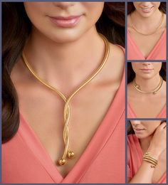 """One four all. Imagine all the possibilities for this versatile Italian-made necklace. Crafted with a flexible silicone core, this design can twist and transform into many looks. Wear as a Y-necklace, a coiled choker, an Omega-style, or even a coiled bangle bracelet! Measures 1/4"""" wide with a 1/2"""" bead on each end. 26"""" long from end to end. Made in Italy. Clasp-free, 18kt yellow gold over sterling silver necklace."""