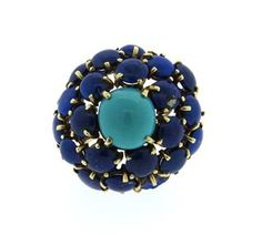 14k Gold Lapis Lazuli Turquoise Dome Ring Available @ hamptonauction.com at the Fine Jewelry Watches Coins and Collectibles Auction on January 26, 2015! Come preview our catalog!