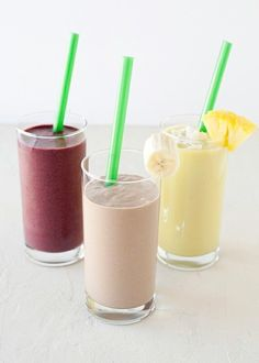 Breakfast smoothies... pina colada, berry, and chocolate peanut butter