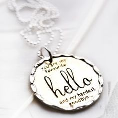 """You are my favourite hello and my hardest goodbye"". Always such amazing piece from Palas Jewellery!"