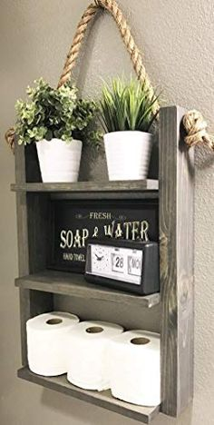 pin it for later. Read more on french country bathroom accessories. Bathroom Hanging Farmhouse Ladder Shelf with Rope #frenchcountrybathroomaccessories
