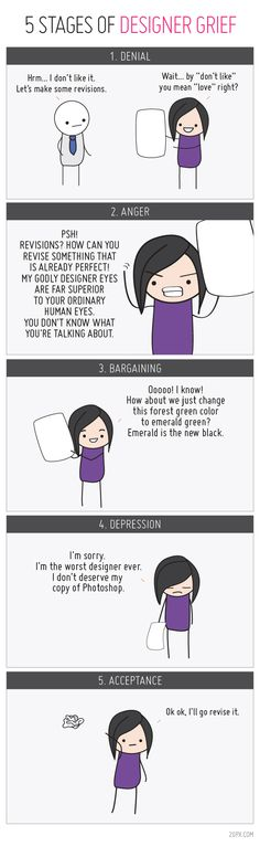 After getting feedback on a design, your designer may exhibit 5 stages of grief. Be aware, prepared and support ...