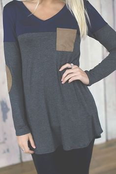 Something New Tunic (Blue/Gray) - Piace Boutique. Could make from old T shirt