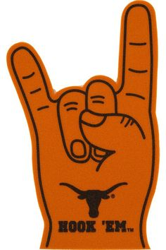 Hook 'em Horns hand sign, a symbol of Longhorn pride that is recognized and shared around the globe. Show your spirit at any UT sporting event. Get it now!