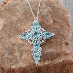 Madagascar Paraiba Apatite Cross Pendant with Chain in Platinum Overlay Sterling Silver (Nickel Free)