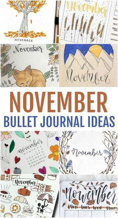 The month of November represents the transition from the autumn and fall harvest season to that of the upcoming wintry months so you could really go either way when it comes to your bullet journal this month. If you love the autumn season though, I know you'll love these November bullet journal ideas we have shared below. Bullet Journal Health, Bullet Journal Cover Ideas, Bullet Journal Ideas Pages, Journal Covers, Bullet Journal Inspiration, Bullet Journals, November Thanksgiving, Hosting Thanksgiving, November Rain