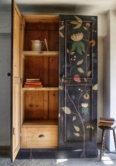 Funky Furniture, Upcycled Furniture, Furniture Makeover, Furniture Design, Antique Painted Furniture, Painted Armoire, Vintage Furniture, Bookcase Shelves, Sweet Home