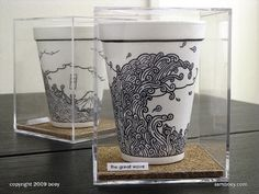 Coffee cup drawings by Cheeming Boey |Pinned from PinTo for iPad|