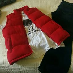 Red vest Red simi-puffy vest (never been worn) Cambridge Classics Jackets & Coats