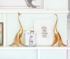 fancy peacocks, balanced with foul-mouthed art {via Yellow Brick Home}