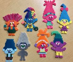 Trolls Perler Beads – Perler Bead Patterns – King Peppy, Harper, Poppy, Smidge, … – Famous Last Words Easy Perler Bead Patterns, Melty Bead Patterns, Perler Bead Templates, Diy Perler Beads, Perler Bead Art, Bead Loom Patterns, Beading Patterns, Loom Beading, Bracelet Patterns