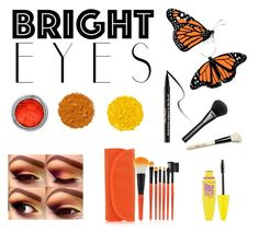 """""""Monarch butterfly eye makeup"""" by mimiinc ❤ liked on Polyvore featuring Illamasqua, Too Faced Cosmetics, Maybelline, Gucci, Bobbi Brown Cosmetics and brighteyes"""