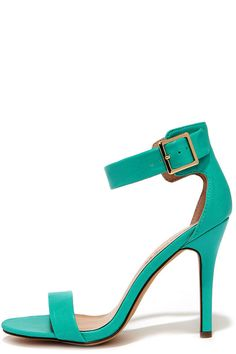 7dbcc905e49 Showcase that perfect pedi in the Enjoy the Show Aqua Ankle Strap Heels!  These lovely single strap heels have an aqua-green vegan leather toe strap