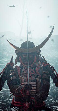 Japanese Art Samurai, Japanese Warrior, Japanese Artwork, Oni Samurai, Samurai Tattoo, Samurai Warrior, Samurai Wallpaper, Dark Souls Art, Samurai Artwork