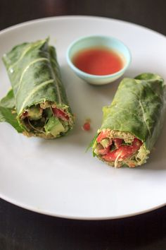 Sunflower Wrap: Sunflower seed hummus gives this naturally vegan and gluten-free meal a punch of nutty flavor. The collard wrap makes it nicely portable for work lunches. (via Trial and Eater)