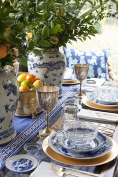 A chinoiserie inspired blue and white table