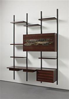 OSVALDO BORSANI AND ARNALDO POMODORO  Bookcase with desk and cabinet, c. 1954