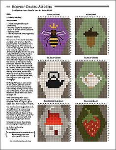 Cross Stitch Patterns Hexipuff Charts: Assorted patterns by Jennifer Fabian - duplicate stitching to enhance your knitting projects - Tiny Cross Stitch, Cross Stitch Charts, Cross Stitch Embroidery, Embroidery Patterns, Cross Stitch Patterns, Knitting Charts, Knitting Stitches, Knitting Patterns, Crochet Patterns