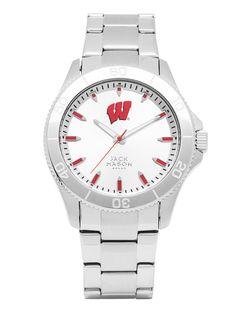 Wisconsin Badgers Men's Silver Dial Sport Bracelet Watch