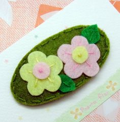 Felt flowers on a hair clip