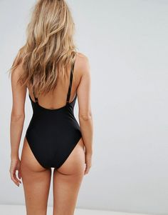 Wolf & Whistle Lace Plunge Swimsuit - Black