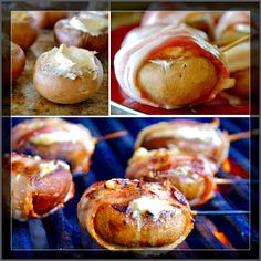 Blue Cheese Filled Bacon Wrapped Mushrooms! #LowCarb