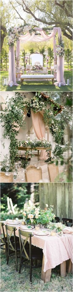 Blush and greenery wedding color themes and ideas Wedding With Kids, Wedding Sets, Floral Wedding, Wedding Colors, Dream Wedding, Theme Color, Color Themes, Wedding Ceremony Arch, Wedding Venues