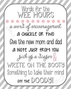 Diaper notes for baby shower printable! Also available in blue, pink & blue combo or yellow for gender neutral!