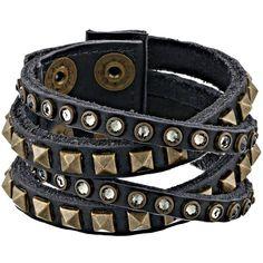 Leatherock B340 (Vintage Black) Bracelet ($68) ❤ liked on Polyvore featuring jewelry, bracelets, vintage jewelry, vintage bangles, leatherock, leather jewelry and cuff bracelet