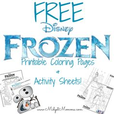 FREE Frozen Printable Coloring pages and Activity Sheets